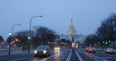 Ultra HD 4K Pennsylvania Avenue, US Capitol, Washington DC, Congress, Dusk Stock Footage