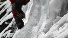 Stock Video Footage of ice climbing crampons