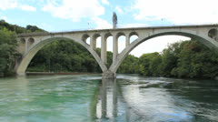 Bridge and river Stock Footage