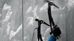 Ice climbing ice axes difficulty Stock Footage