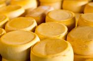 Stock Photo of pile of peru cheese on the cusco cheese market