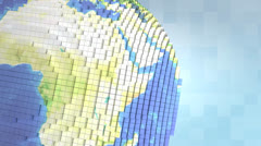 Voxelize earth. Close-up, background, square, boxy. Stock Footage
