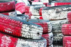 Tire pile in a racing circuit Stock Photos
