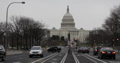 Ultra HD 4K Washington DC, Pennsylvania Avenue, US Capitol Building, Car Traffic Stock Footage