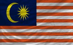 complete waved national flag of malaysia for background - stock photo