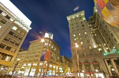Union square in downtown san francisco at evening hours Stock Photos
