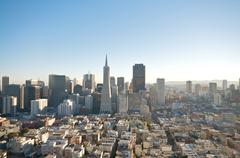 san francisco skyline captured from coit tower. - stock photo