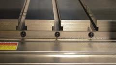 Hydraulic table on cnc machine Stock Footage