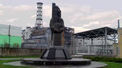 Memorial at the Chernobyl NPP to heroes who save the world  in 1986. Stock Footage