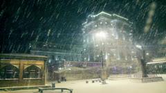 Snow in Ortakoy Pier at Night Stock Footage