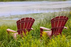 River chairs Stock Photos