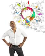 creative business with businessman and new idea - stock photo