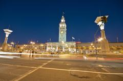 ferry building at the embarcadero in downtown san francisco. - stock photo