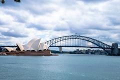 opera house and harbour bridge in sydney australia - stock photo