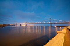 San francisco bay bridge pier view from embarcadero. Stock Photos