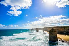 coast of great ocean road with blue sky5 - stock photo