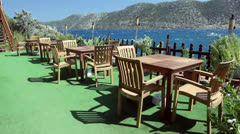 Seaside Cafe Tables Stock Footage