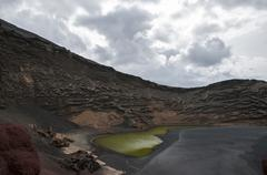 Green lake lanzarote Stock Photos