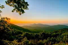 Blue ridge parkway early morning Stock Photos
