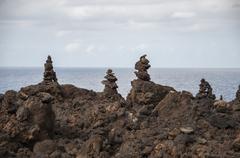 alien landscape of lanzarote - stock photo