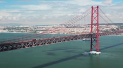 Lisbon. 25th of april bridge Stock Footage