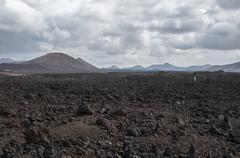 Alien landscape of lanzarote Stock Photos