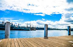 wooden harbour in darling harbour, sydney australia1 - stock photo