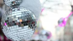 Christmas mirror ball with snow cap Stock Footage