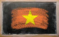 Flag of vietnam on blackboard painted with chalk Stock Photos