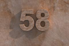 the number 58 carved from marble on marble base - stock illustration