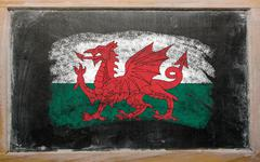 Flag of wales on blackboard painted with chalk Stock Photos