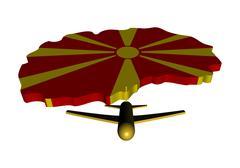 plane taking off from macedonia map flag illustration - stock illustration