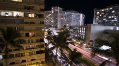 Honolulu Hawaii Hotel Night Time-Lapse V4 - stock footage