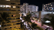 Stock Video Footage of Honolulu Hawaii Hotel Night Time-Lapse V4