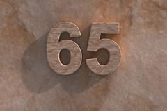 65 in numerals in mottled sandstone Stock Illustration