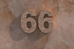 66 in numerals in mottled sandstone Stock Illustration