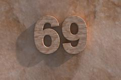 69in numerals in mottled sandstone - stock illustration