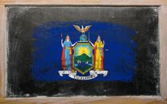 Flag of us state of new york on blackboard painted with chalk Stock Photos