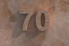 70 in numerals in mottled sandstone - stock illustration