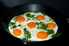 fried eggs in a skillet. - stock photo
