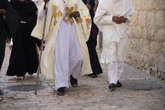Pilgrims Walking - stock photo