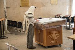 Jew Reading Prayer Book - stock photo