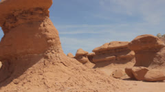 Goblin valley state park rock formations panning shot Stock Footage
