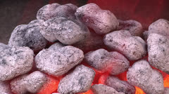 Glowing Charcoal Coals Fall Glowing Red Hot Charcoal BBQ Grill Barbeque Outdoor  Stock Footage