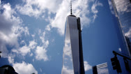Stock Video Footage of NYC Freedom Tower Time Lapse New York City Day Exterior