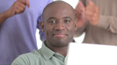 Successful black businessman happy with dancing coworkers Stock Footage