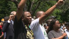 Black men chanting - stock footage