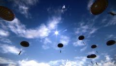 Paratroopers descending in the sky Stock Footage