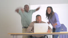 Excited businessteam reaching their goal Stock Footage