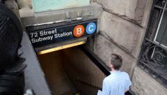 New York Subway Entrance Stock Footage